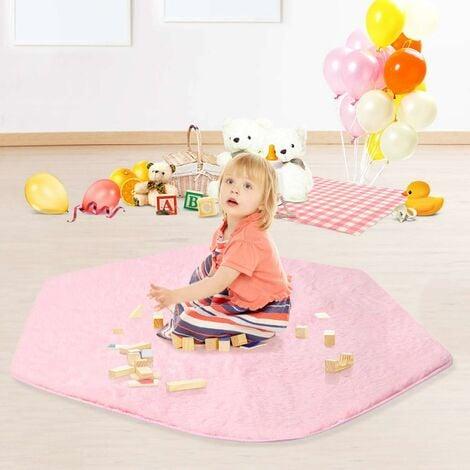 LITZEE Tapis corail 140 * 120 cm tapis de jeu pour bébé antidérapant tapis en peluche tente pour enfants hexagone princesse château Playhouse Pad pour les enfants jouent