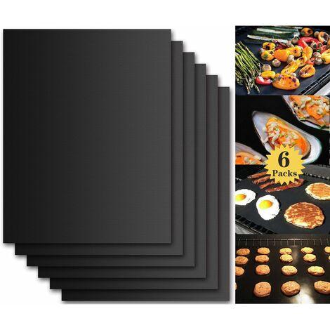 """main image of """"LITZEE Tapis de Cuisson Barbecue, Set de 6 Feuille de Cuisson pour Barbecue et Four - 40*33 cm Anti-adhérent de BBQ et Feuilles de Cuisson réutilisable pour les barbecue à gaz, Charbon ou électriques"""""""