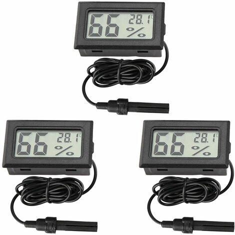 LITZEE Thermomètre digital hygromètre mini Sonde thermomètres Jauge de température humidité Mètre pour reptile incubateur Aquarium volaille Bureau salle de séjour
