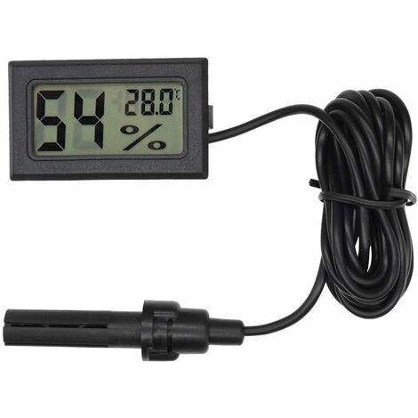 LITZEE Thermomètre hygromètre digital, mini sonde intégrée, jauge d'humidité, de température pour incubateur de reptiles, aquarium, volailles, bureau, salon, noir, 4,8 x 2,8 x 1,5 cm