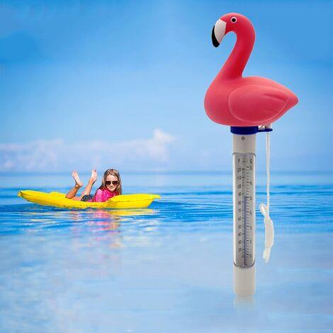 LITZEE Thermomètre Piscine, Thermomètre d'eau d'étang Flottant avec Ficelle, Thermomètre de Piscine pour Bébé Résistant aux éclats pour Piscines Extérieures et Intérieures