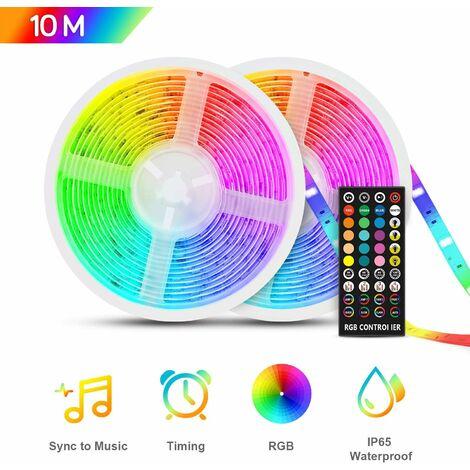 LITZEE Tira de LED estanca de 10 m, tira de LED de 12 V RGB5050, multicolor IP65 con función de temporización mucial, mando a distancia por infrarrojos, tira de LED para dormitorios interiores y exteriores, hogar, fiesta, Navidad, etc.