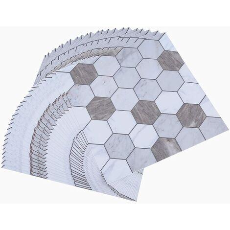 LITZEE Topmail 10 Pièces Stickers Carrelage Auto-adhésif Imperméable Marbre Géométrique en PVC Design de Carreaux de Ciment Autocollant Mural Décoratif pour Cuisine Salle de Bain Brun et Blanc 15x15cm