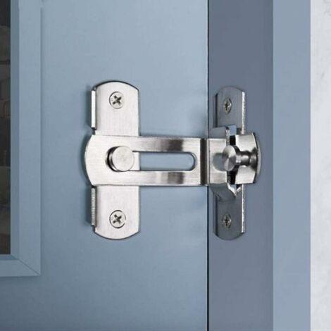 LITZEE Verrou de porte à angle droit 90 degrés Boulon de verrouillage de boucle de verrouillage Boulon de barillet à verrou coulissant avec vis pour portes de toilette et fenêtres