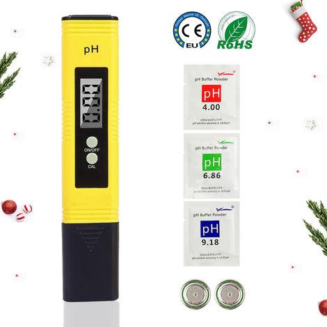 LIUMY PH Mètre Numérique ATC PH Testeur de Qualité pour Eau Portable Aquarium Hydroponie Piscine Plage de Mesure avec 0-14 pH