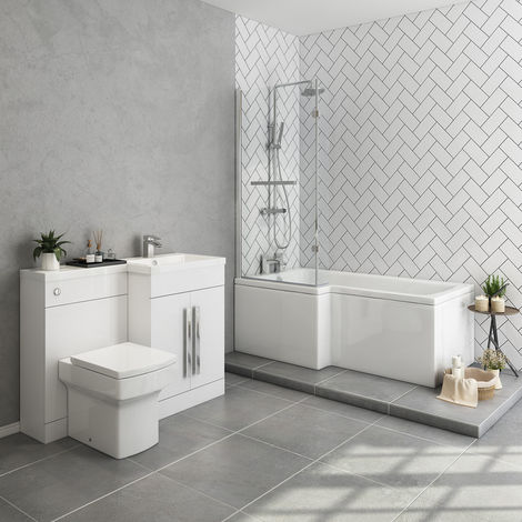Live Bathroom Suite 1500mm Left Hand L Shape Shower Bath with Screen & Right Hand Basin Vanity Unit Set with Toilet