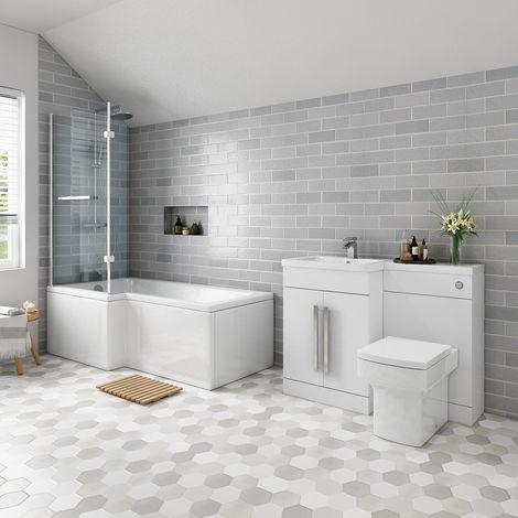 Live Bathroom Suite 1700mm Left Hand L Shape Shower Bath with Screen & Left Hand Basin Vanity Unit Set with Toilet