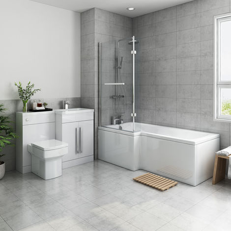 Live Bathroom Suite 1700mm Left Hand L Shape Shower Bath with Screen & Right Hand Basin Vanity Unit Set with Toilet