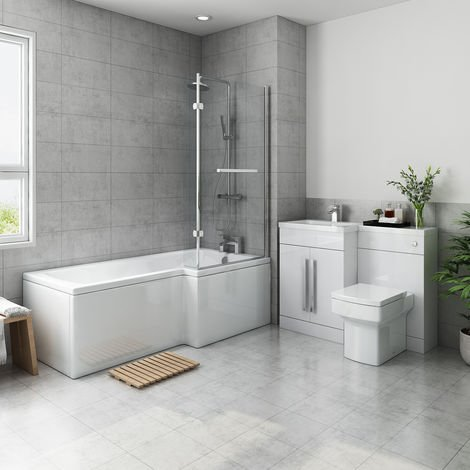 Live Bathroom Suite 1700mm Right Hand L Shape Shower Bath with Screen & Left Hand Basin Vanity Unit Set with Toilet