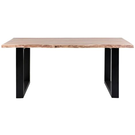 Live Edge 6.5 ft. Dining Table with Metal base - Light Wood