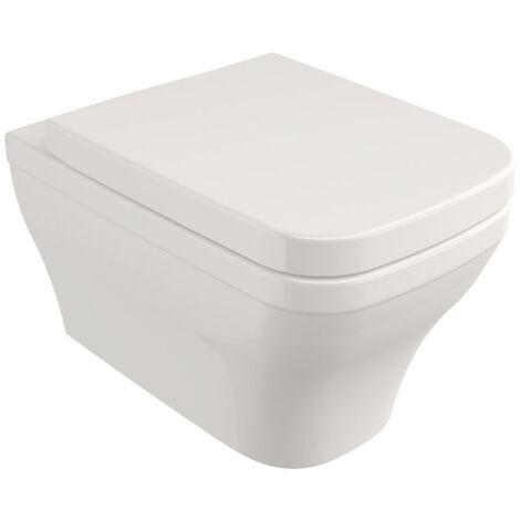 LIVEA Roma Set WC Cuvette suspendue sans bride, forme carrée + Abattant softclose (SetRoma)
