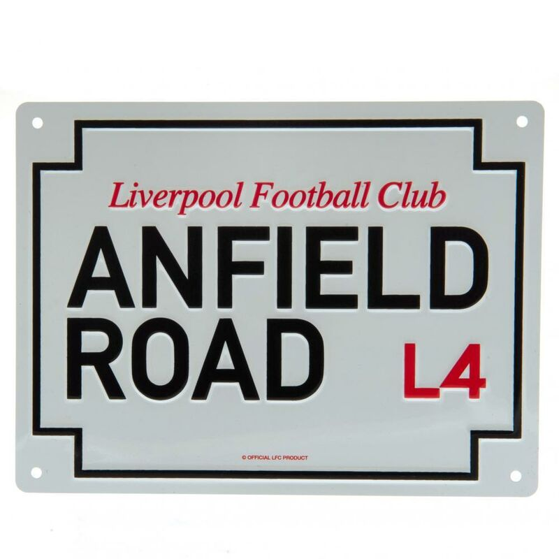 Image of Anfield Road Plaque (One Size) (White/Black) - Liverpool Fc
