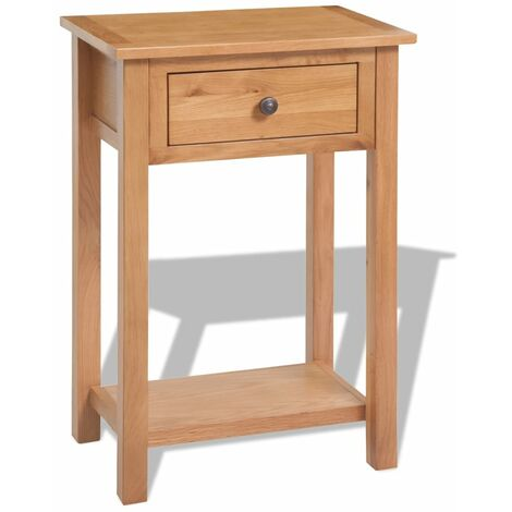 Livia Solid Oak Side Table with Storage by Union Rustic - Brown