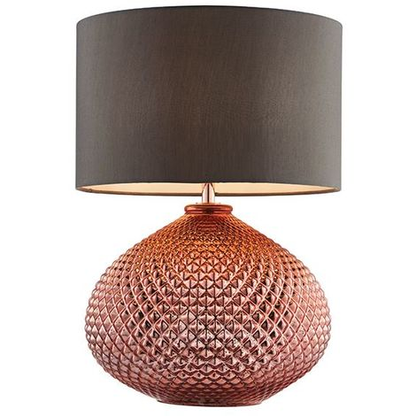 Livia Table Lamp 60W SW Copper Glass Base With Grey Faux Silk Shade
