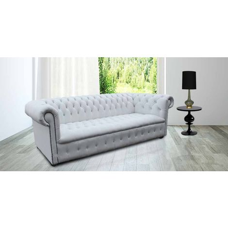 Living Room Chesterfield Furniture | White Leather Chesterfield Sofa UK | DesignerSofas4U