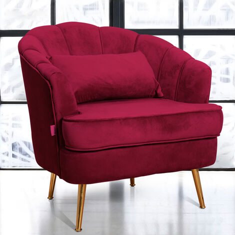 Living Room Corner Chair Golden Steel Legs Reception Chair Tub Chair Armchair with Backrest & Armrests Wine Red