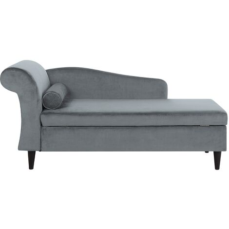 "main image of ""Living Room Left Hand Velvet Chaise Lounge with Storage Light Grey Luiro"""