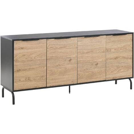 Living Room Sideboard 4 Door 2 Shelves Storage Cabinet Black Light Wood Arkley