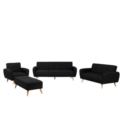 Living Room Suite Sofa Set 3 Seater 2 Seater Armchair Footstool Black Florli