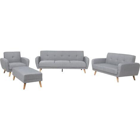 Living Room Suite Sofa Set 3 Seater 2 Seater Armchair Footstool Grey Florli