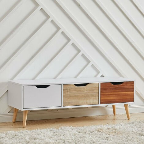 Living Room TV Stand Storage Cabinet Unit w/ Wood Legs 3 Drawers