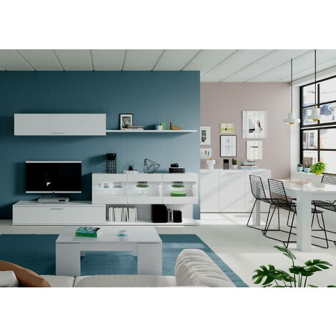 Living room TV stand with display cabinet, wall unit and shelf, glossy white colour, 84 x 260 x 41 cm