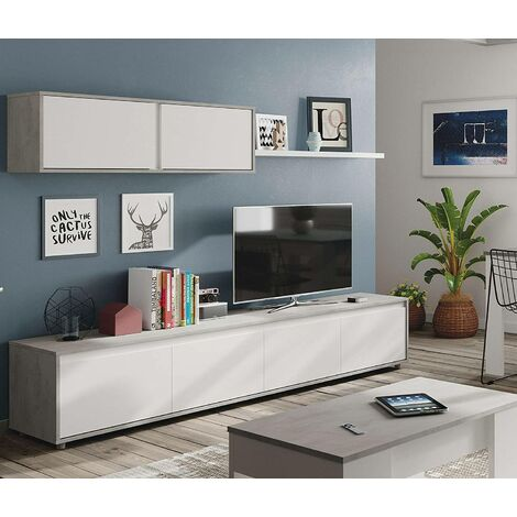 Living room TV stand with four hinged doors with hanging module with two hinged doors and a shelf, concrete colour and arctic white, 200 x 43 x 41 cm.