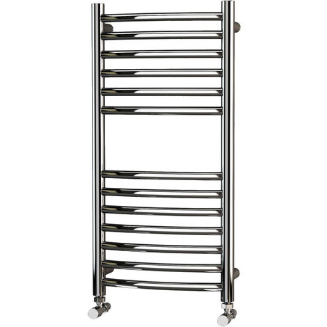 LivingB 304 Curved Polished Stainless Steel Heated Towel Rail 800mm x 400mm - Electric Only Thermostatic - 861BTU's