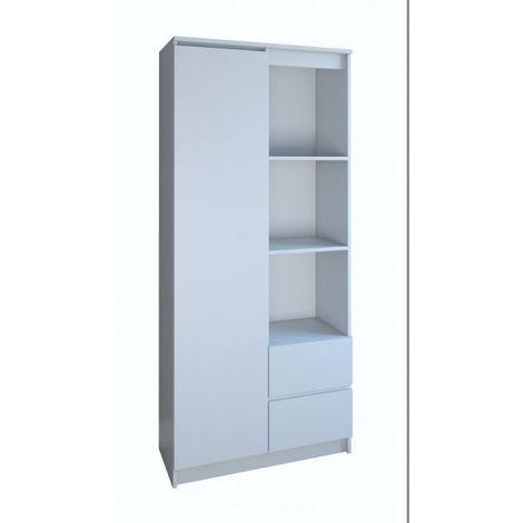LIVORNO - Bibliothèque 7 niches + 2 tiroirs bureau chambre - 180x80x35 - Meuble de rangement - Etagères livres déco - blanc