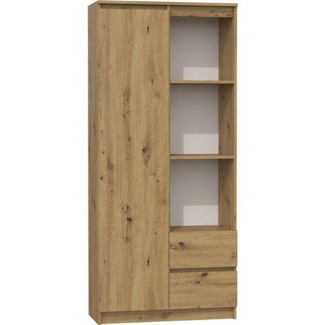LIVORNO - Bibliothèque étagère moderne - Dimensions : 180x80x35 - 7 tablettes pratiques + 2x tiroirs - Meuble de rangement - Chêne