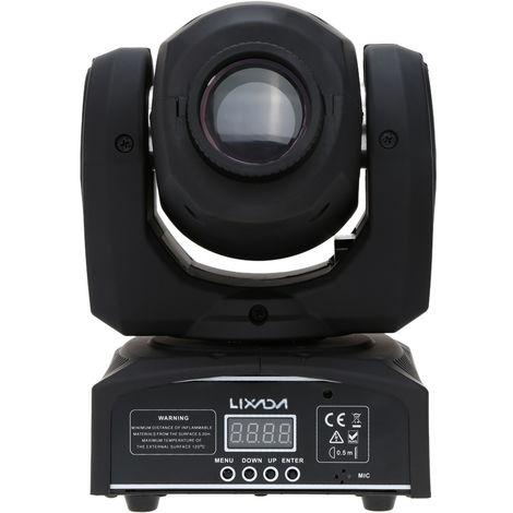 Lixada, DMX-512 Mini luz de cabeza movil, luz de escenario, 9/11 canales, 25W CA 100-240V