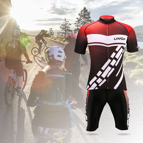 Lixada Ensemble de vetements de cyclisme pour hommes a sechage rapide a manches courtes en jersey de velo Tops 3D Coussin Rembourre Cuissard d'equitation Collants Pantalons, modele: L