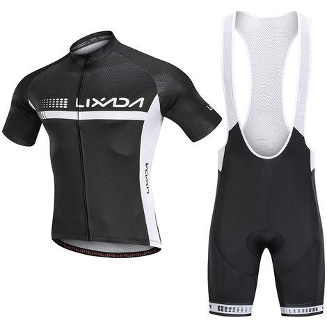 Lixada Ete Cyclisme Maillot Manches Courtes Velo Chemise Et Rembourre Cuissard Respirant Vtt Velo Equitation Velo Costume Velo, M
