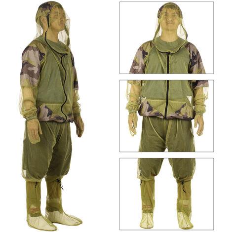 Lixada Exterieure Anti-Moustique Costume Bug Veste Costumes Mesh Hooded Peche Chasse Camping Veste D'Insectes Gants De Protection Mesh Chemise Pantalons, Xl