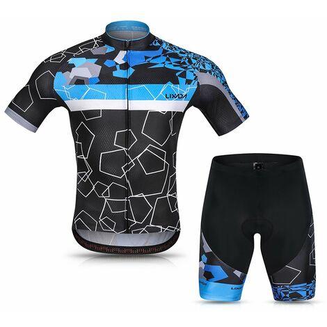 Lixada Hommes Cyclisme Maillot Respirant A Manches Courtes Quick-Dry Velo Chemise Et Gel Rembourre Short Vtt Cyclisme Set Outfit, Bleu, Xl