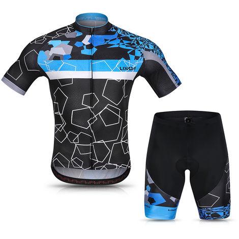 Lixada Hommes Cyclisme Maillot Respirant A Manches Courtes Quick-Dry Velo Chemise Et Gel Rembourre Short Vtt Cyclisme Set Outfit, Bleu, Xxl