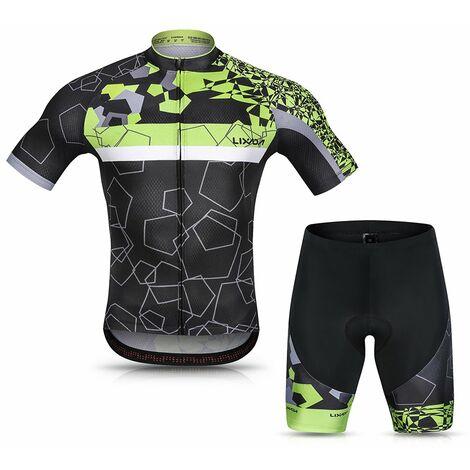 Lixada Hommes Cyclisme Maillot Respirant A Manches Courtes Quick-Dry Velo Chemise Et Gel Rembourre Short Vtt Cyclisme Set Outfit, Vert, M