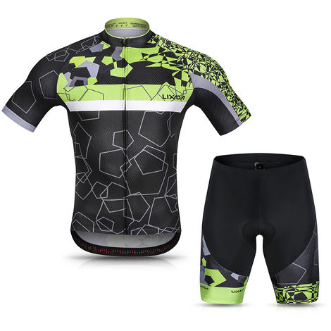 Lixada Hommes Cyclisme Maillot Respirant A Manches Courtes Quick-Dry Velo Chemise Et Gel Rembourre Short Vtt Cyclisme Set Outfit, Vert, Xl