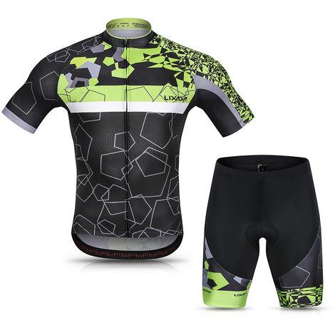 Lixada Hommes Cyclisme Maillot Respirant A Manches Courtes Quick-Dry Velo Chemise Et Gel Rembourre Short Vtt Cyclisme Set Outfit, Vert, Xxl