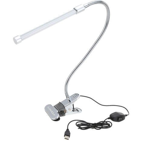 Lixada, lampara de mesa de escritorio LED con abrazadera USB, 6W, 18LED