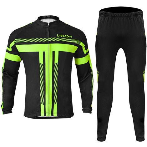 Lixada Manches Longues D'Hiver D'Homme Maillot Cyclisme Set Toison Cyclage Thermique Vetements Coupe-Vent Cyclisme Veste Manteau 3D Rembourrees Pantalon, Xxl