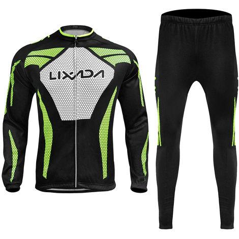 Lixada Manches Longues Hiver Hommes Cyclisme Maillot Thermique Fleece Vetements De Velo Coupe-Vent A Velo Manteau Pantalon 3D Rembourrees, M
