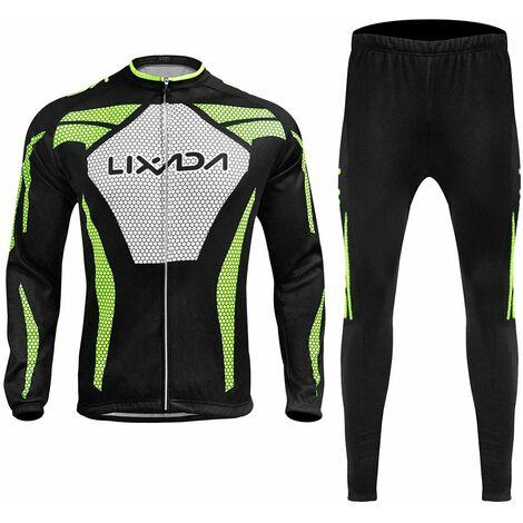 Lixada Manches Longues Hiver Hommes Cyclisme Maillot Thermique Fleece Vetements De Velo Coupe-Vent A Velo Manteau Pantalon 3D Rembourrees, Xl
