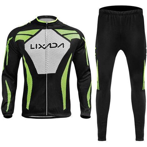 Lixada Manches Longues Hiver Hommes Cyclisme Maillot Thermique Fleece Vetements De Velo Coupe-Vent A Velo Manteau Pantalon 3D Rembourrees, Xxl