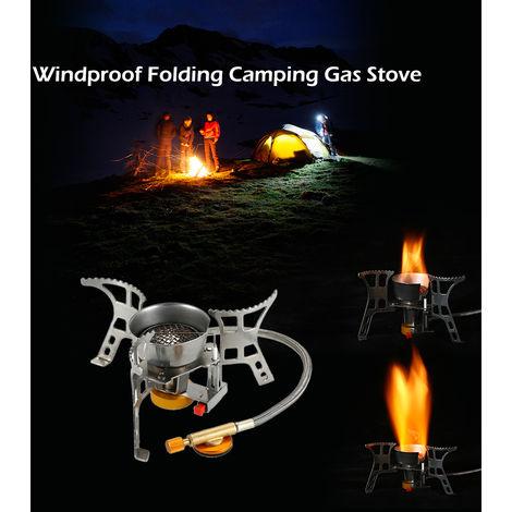 Lixada portatil a prueba de viento Estufa camping gas con encendido piezoelectrico ligero plegable al aire libre Backpacking cocinando Estufa de campo con Carry Case Box