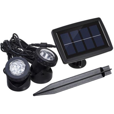 Lixada Solaire Super Bright 2 Lampes LED Underwater 12 Capteur de lumiere Projecteur LED jardin Piscine couverte Etang Jardin Submersible Spot exterieur eclairage paysager Utiliser Blue