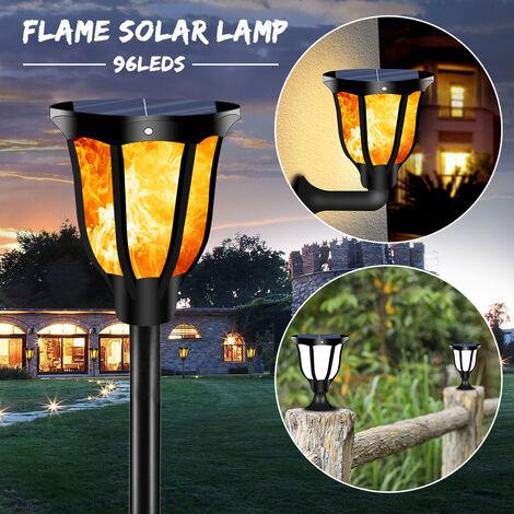 Llamas parpadeantes Luces de antorcha Luz solar 96 LED Aplique de pared de seguridad al aire libre impermeable inalámbrico con energía solar con base de estaca de tierra Aplique de pared
