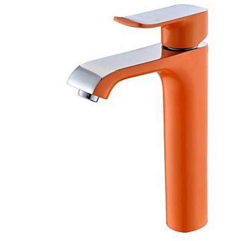 Llave de fregadero de estilo moderno pintada de naranja, grifo monomando con grifo monomando