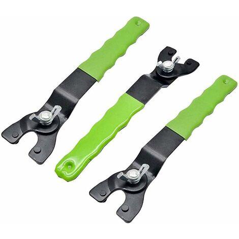 Llave para amoladora angular LITZEE Llave de 3 piezas para rectificadoras Reemplazo de los discos, llave de pasador ajustable para amoladora angular, llave ajustable de 8-50 mm, rueda para amoladora angular de acero al carbono