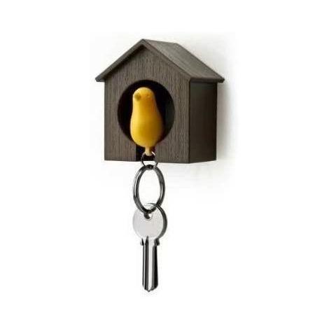 Llavero con casa de madera y gorrión + llavero + pito (Casa marrón + pájaro amarillo)